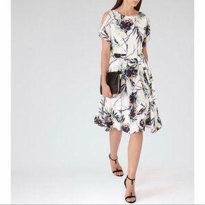 Reiss Floral Naomi Flutter Cold Shoulder Dress